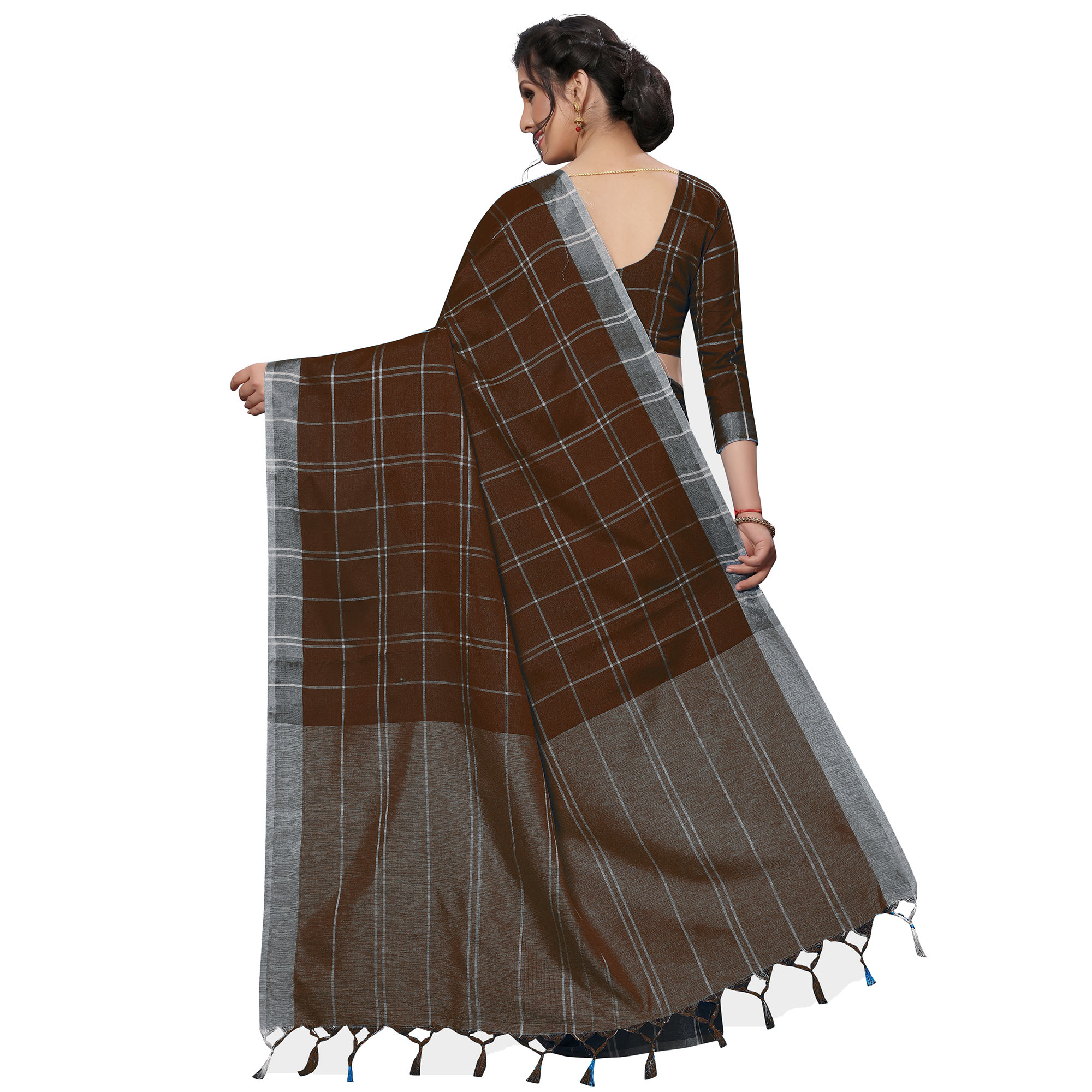 Sophisticated Coffee Brown Festive Wear Woven Linen Silk Saree