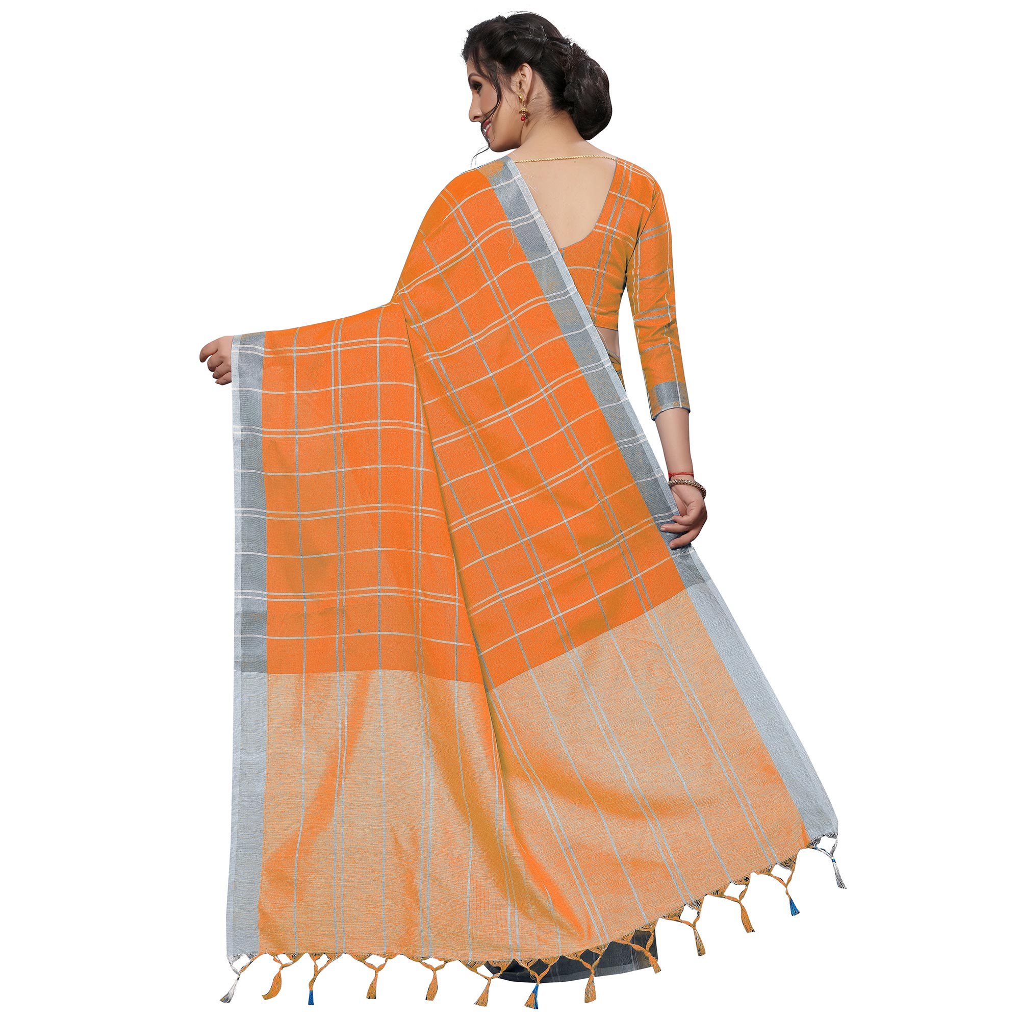 Radiant Orange Festive Wear Woven Linen Silk Saree