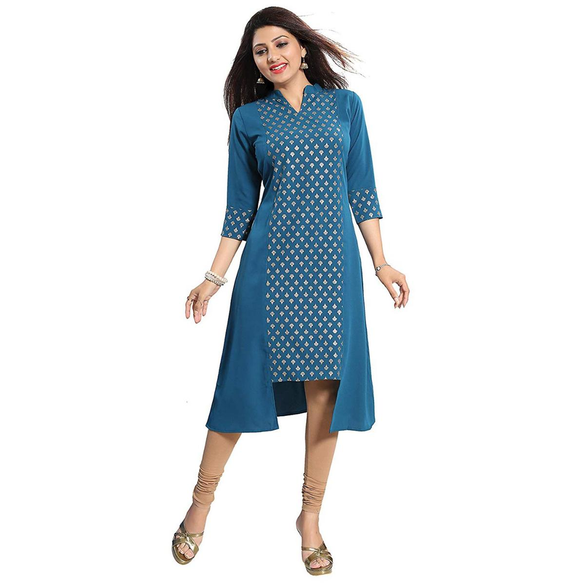 Magnetic Teal Blue Colored Party Wear Printed Crepe Kurti