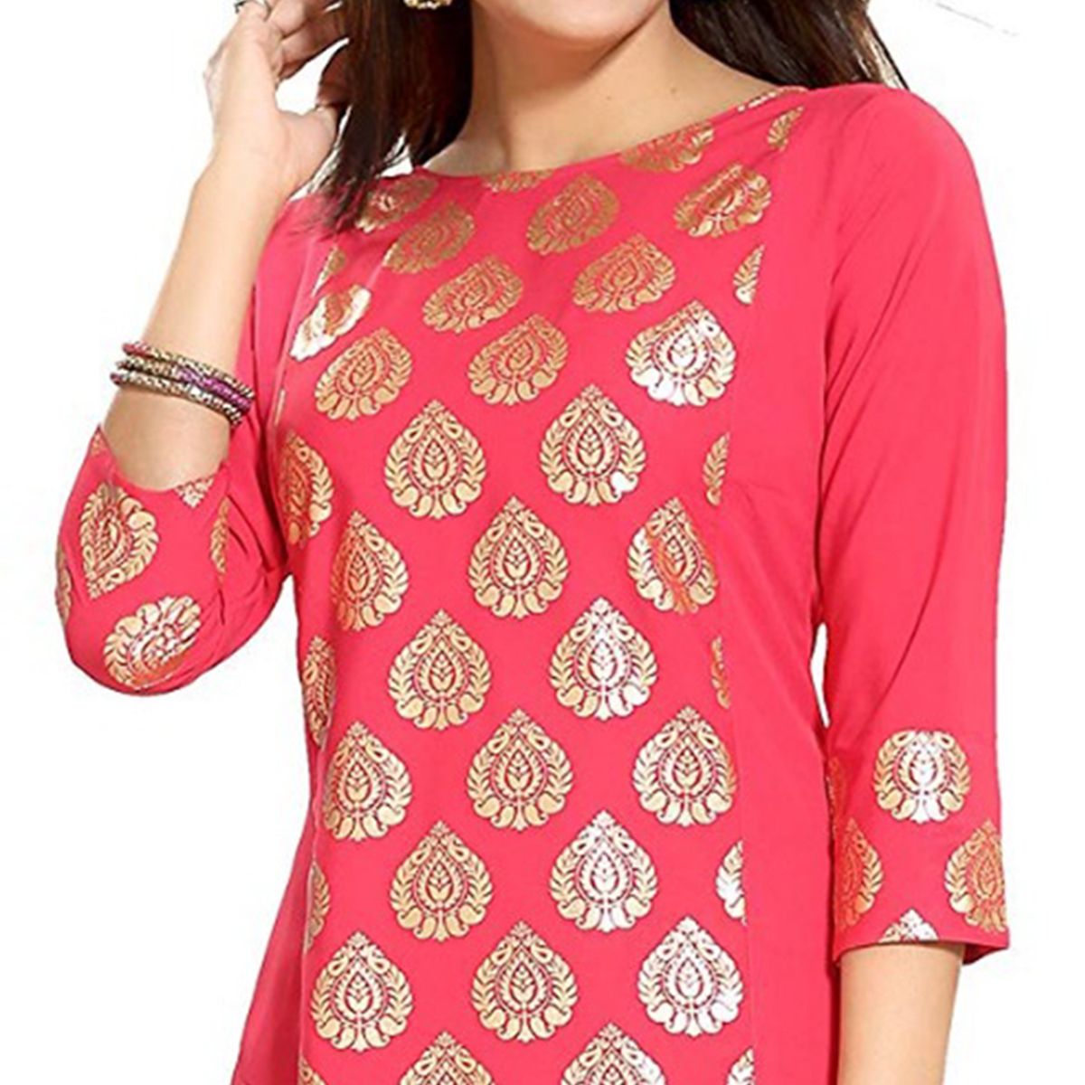 Flattering Pink Colored Party Wear Printed Crepe Kurti