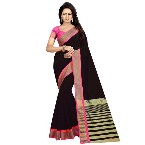 Energetic Black Festive Wear Woven Art Silk Saree