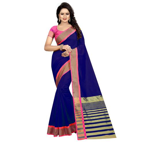 Glowing Royal Blue Festive Wear Woven Art Silk Saree