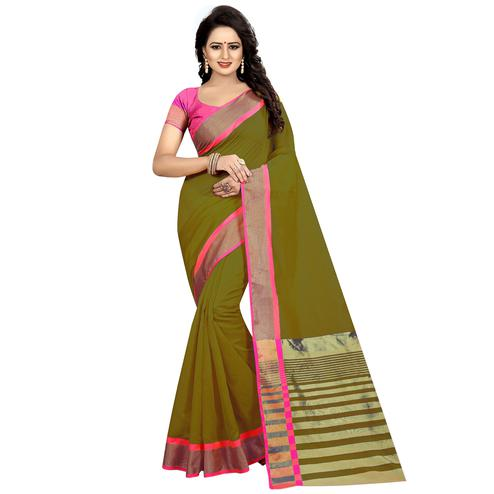Exceptional Mehandi Green Festive Wear Woven Art Silk Saree