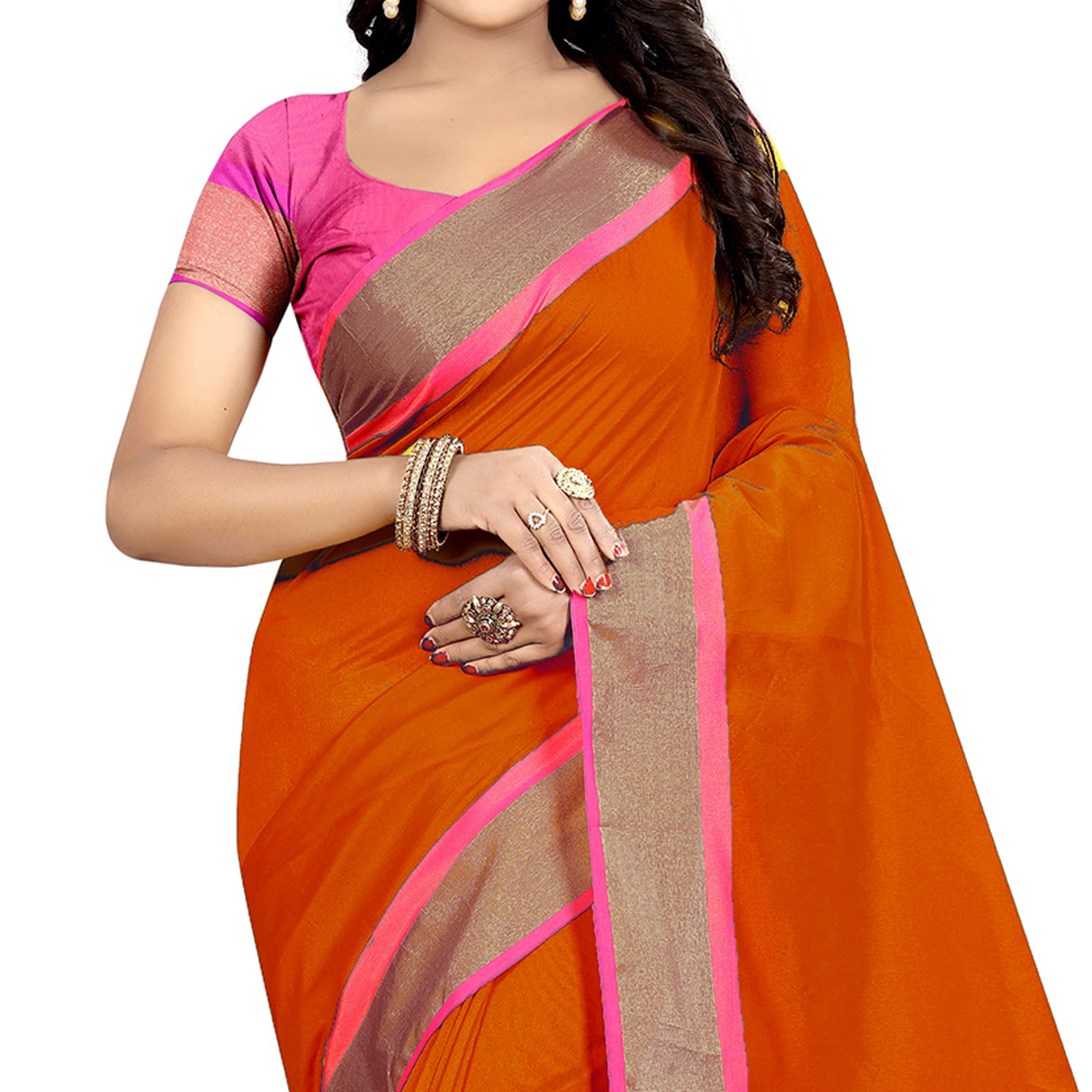 Gleaming Orange Festive Wear Woven Art Silk Saree