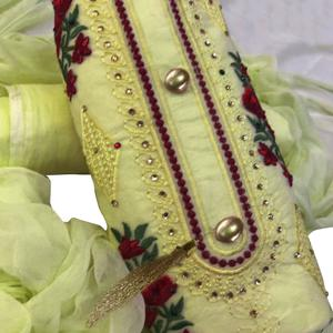 Attractive Lemon Yellow Colored Partywear Embroidered Cotton Dress Material