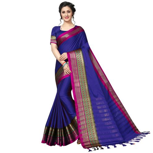 Mesmeric Navy Blue Festive Wear Woven Art Silk Saree