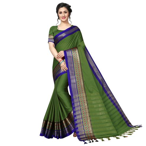 Unique Green Festive Wear Woven Art Silk Saree
