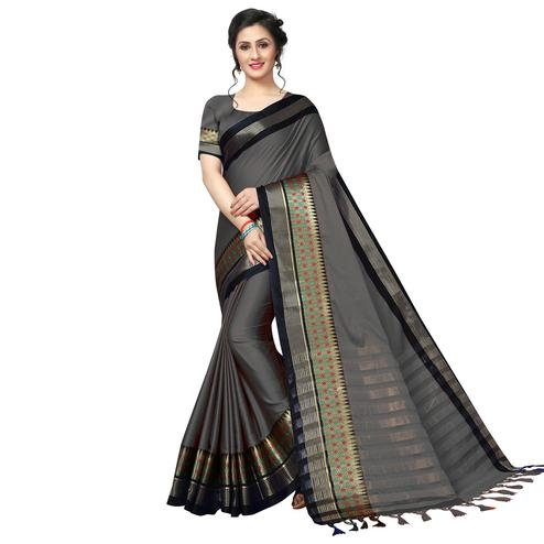Demanding Gray Festive Wear Woven Art Silk Saree
