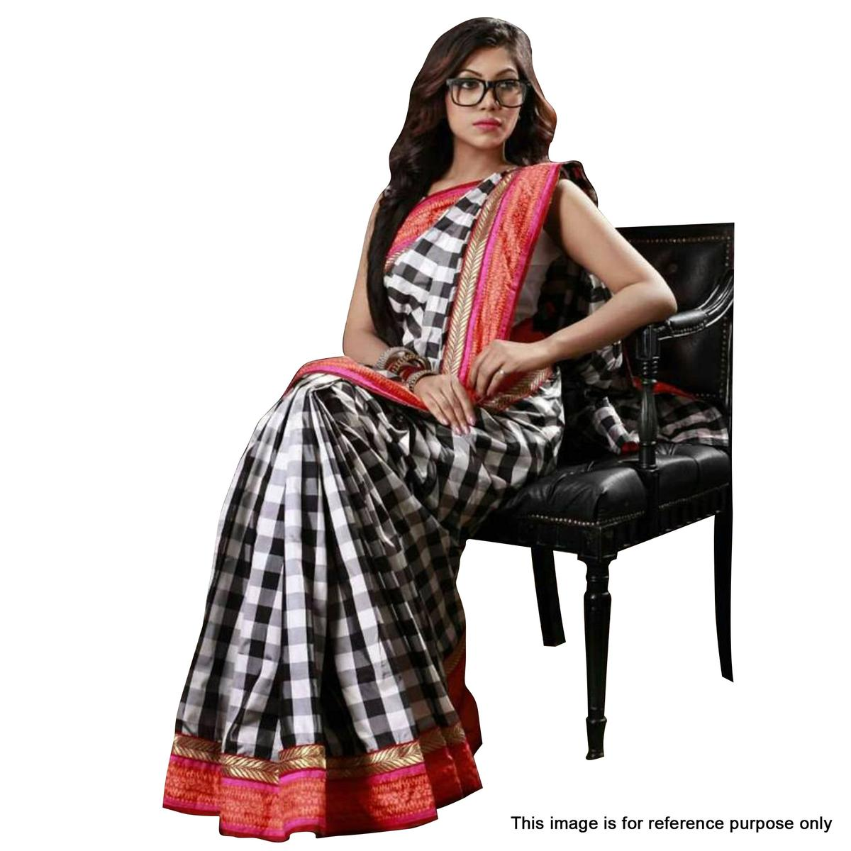 Black - White Checkered Print Art Silk Saree