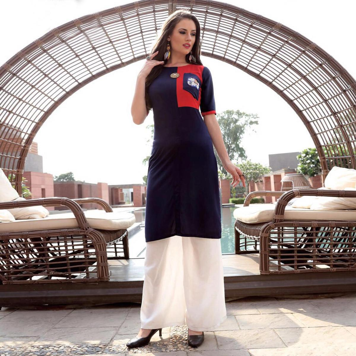 Cool Navy Blue Designer Heavy Rayon Kurti