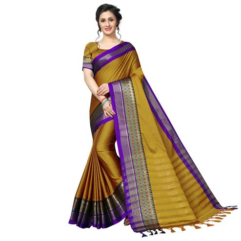 Refreshing Mustard Festive Wear Woven Art Silk Saree