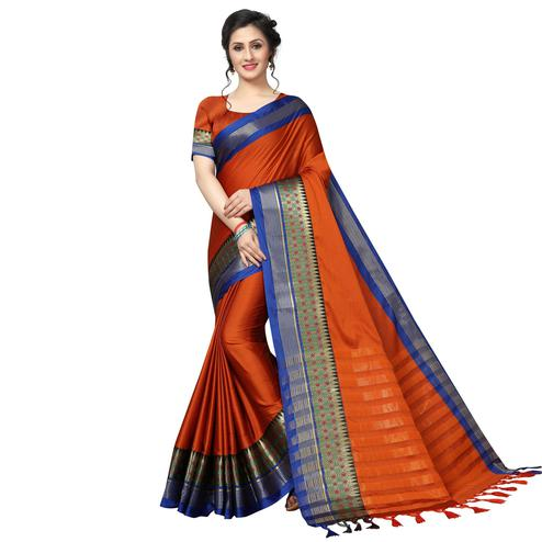 Magnetic Burnt Orange Festive Wear Woven Art Silk Saree