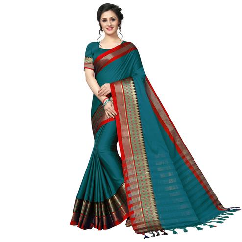 Hypnotic Rama Blue Festive Wear Woven Art Silk Saree