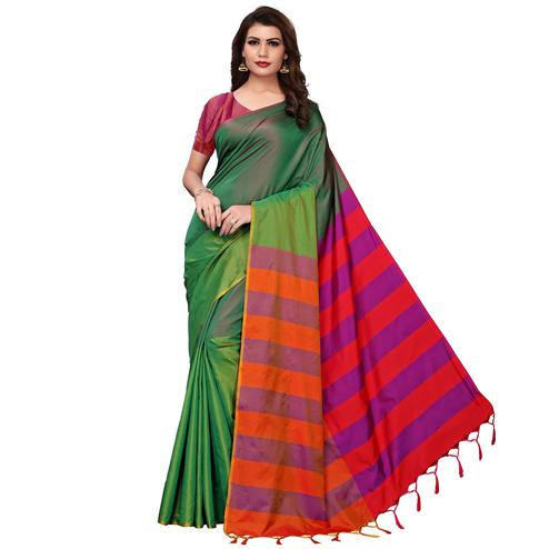 Preferable Dark Green Festive Wear Woven Art Silk Saree