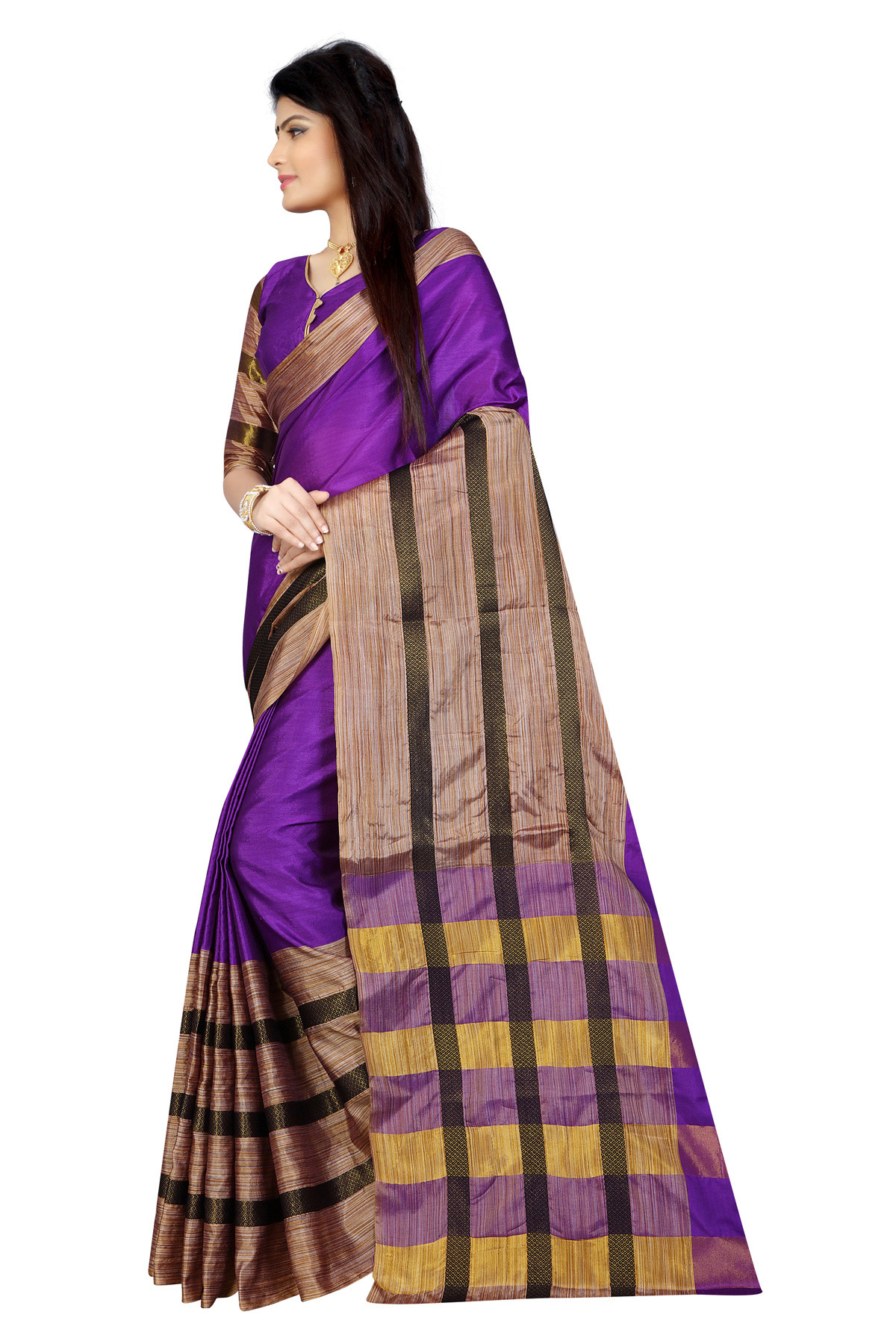 Purple Festive Wear Poly Cotton Saree
