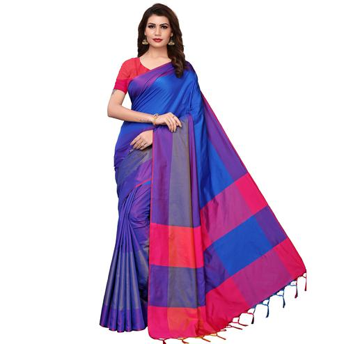 Flaunt Blue Festive Wear Woven Art Silk Saree