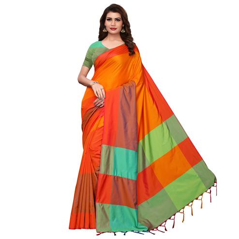 Flirty Orange-Multi Festive Wear Woven Art Silk Saree