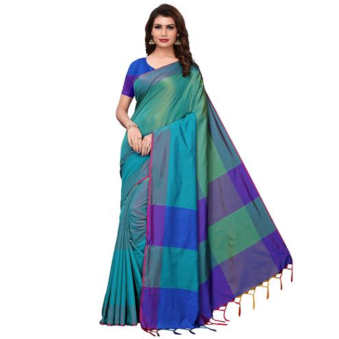 Adorning Rama Green-Blue Festive Wear Woven Art Silk Saree