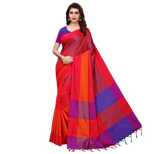 Appealing Red Festive Wear Woven Art Silk Saree