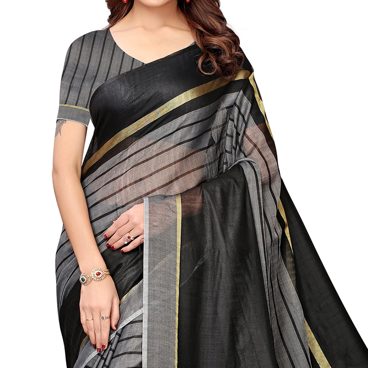 Capricious Black-Gray Festive Wear Woven Art Silk Saree