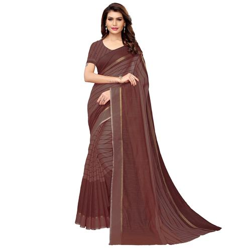 Entrancing Brown Festive Wear Woven Art Silk Saree