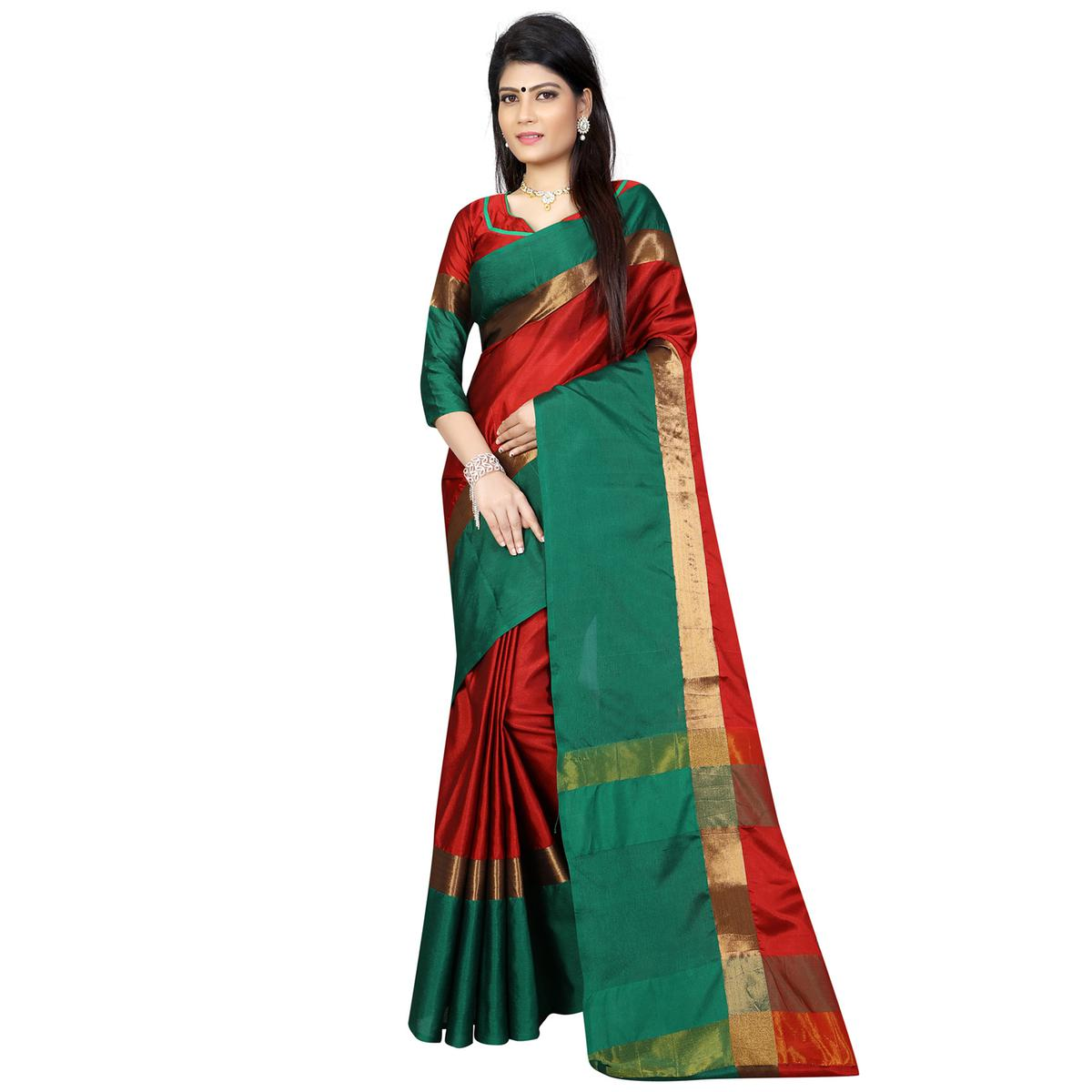 Red-Green Festive Wear Poly Cotton Saree