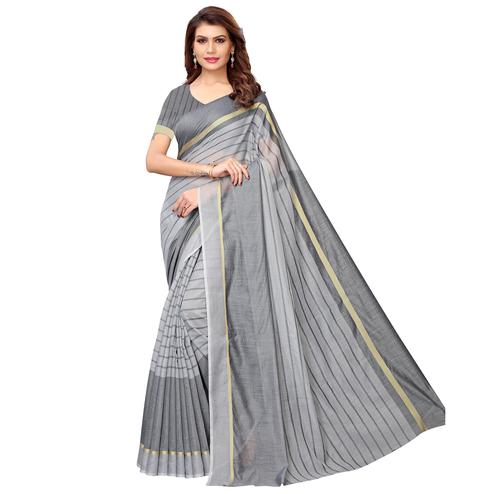 Prominent Gray Festive Wear Woven Art Silk Saree