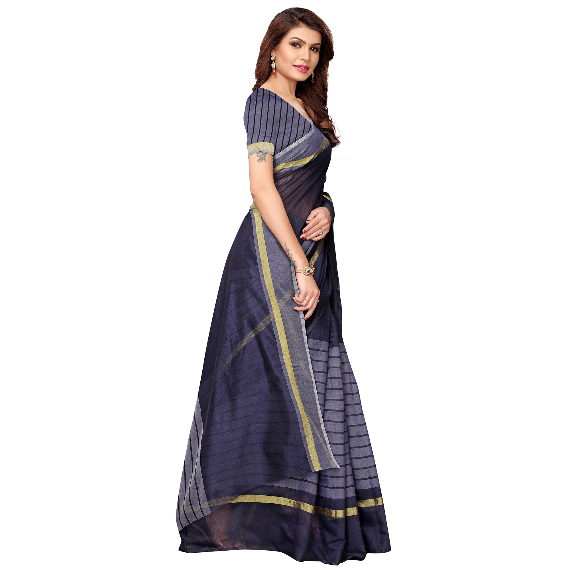 Adorable Navy Blue Festive Wear Woven Art Silk Saree