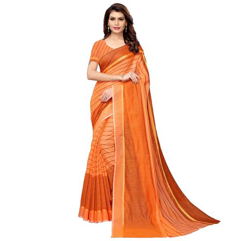 Glorious Orange Festive Wear Woven Art Silk Saree