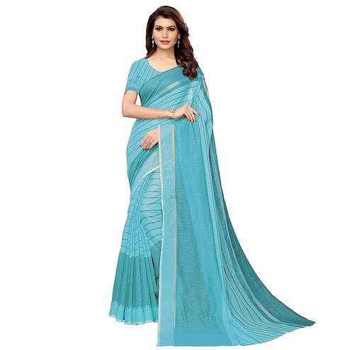 Attractive Sky Blue Festive Wear Woven Art Silk Saree