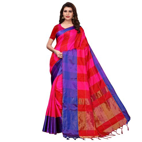 Beautiful Pink-Blue Festive Wear Woven Art Silk Saree