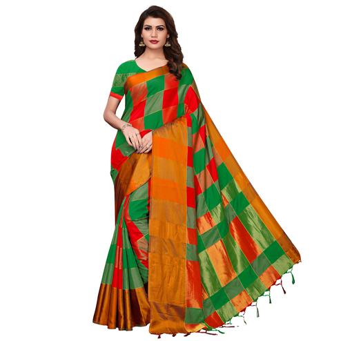 Graceful Green-Mustard Festive Wear Woven Art Silk Saree
