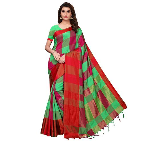 Jazzy Green-Red Festive Wear Woven Art Silk Saree