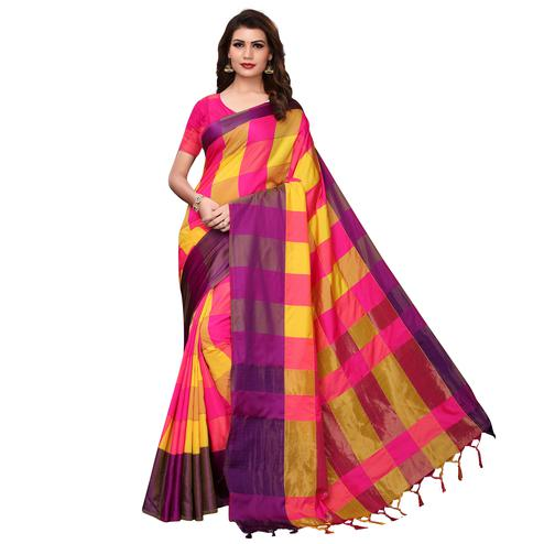 Delightful Yellow-Pink Festive Wear Woven Art Silk Saree