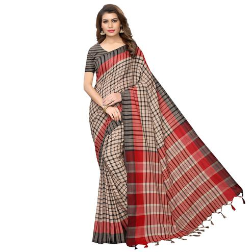 Engrossing Beige-Black Festive Wear Woven Art Silk Saree