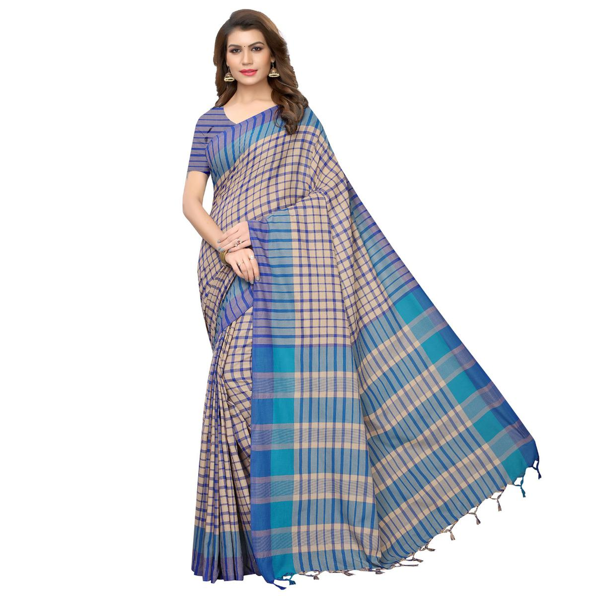 Captivating Beige-Blue Festive Wear Woven Art Silk Saree