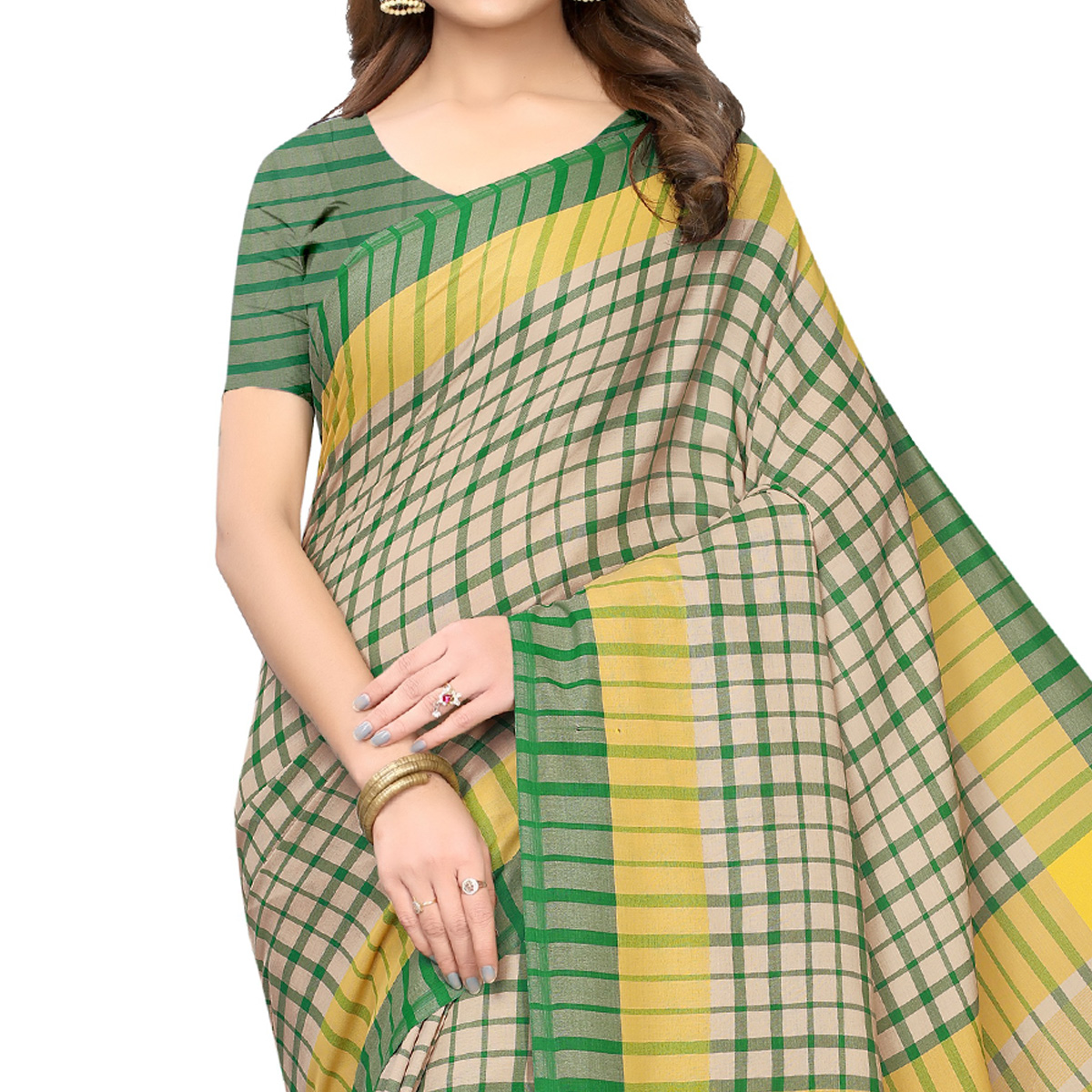 Innovative Beige-Green Festive Wear Woven Art Silk Saree