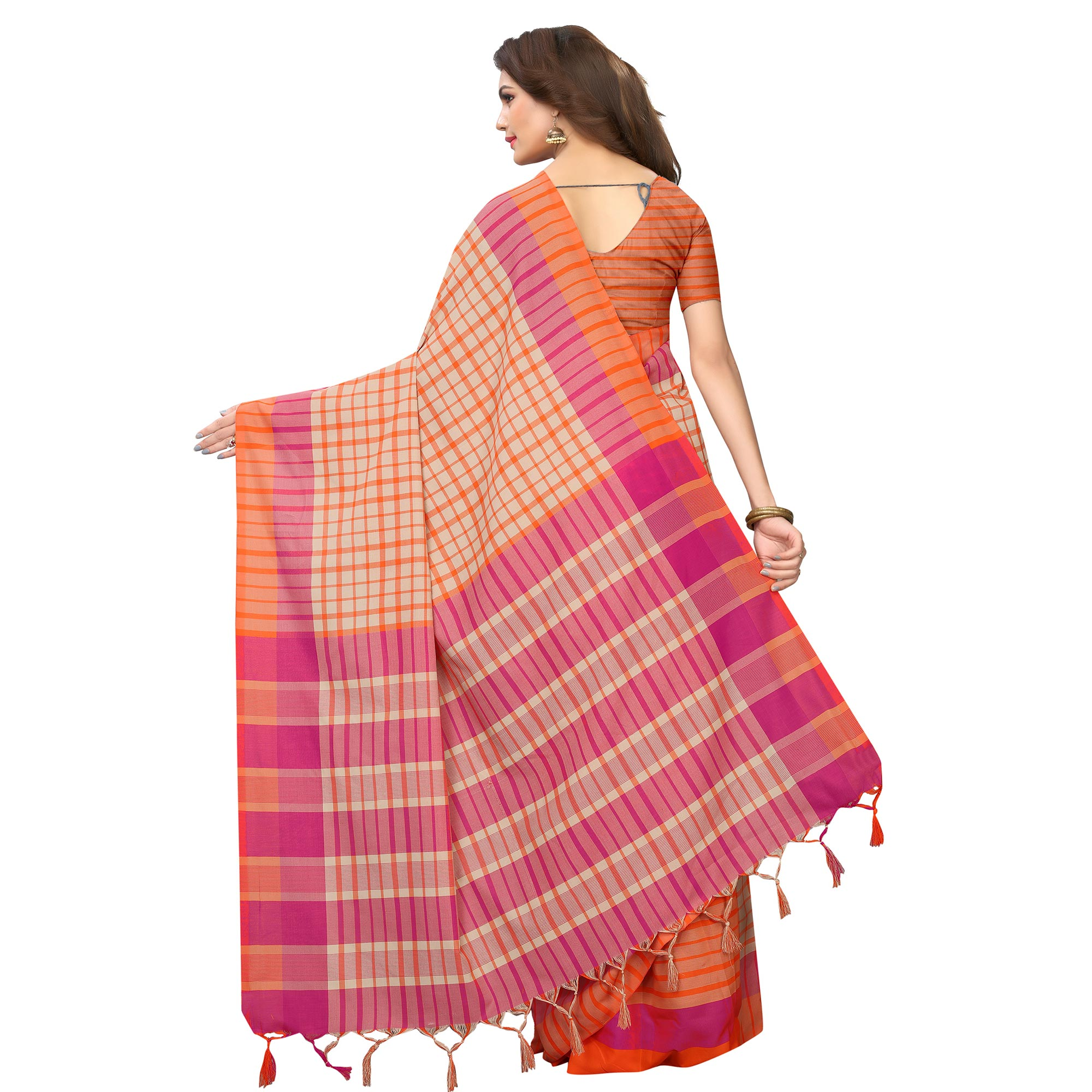 Eye-catching Beige-Orange Festive Wear Woven Art Silk Saree