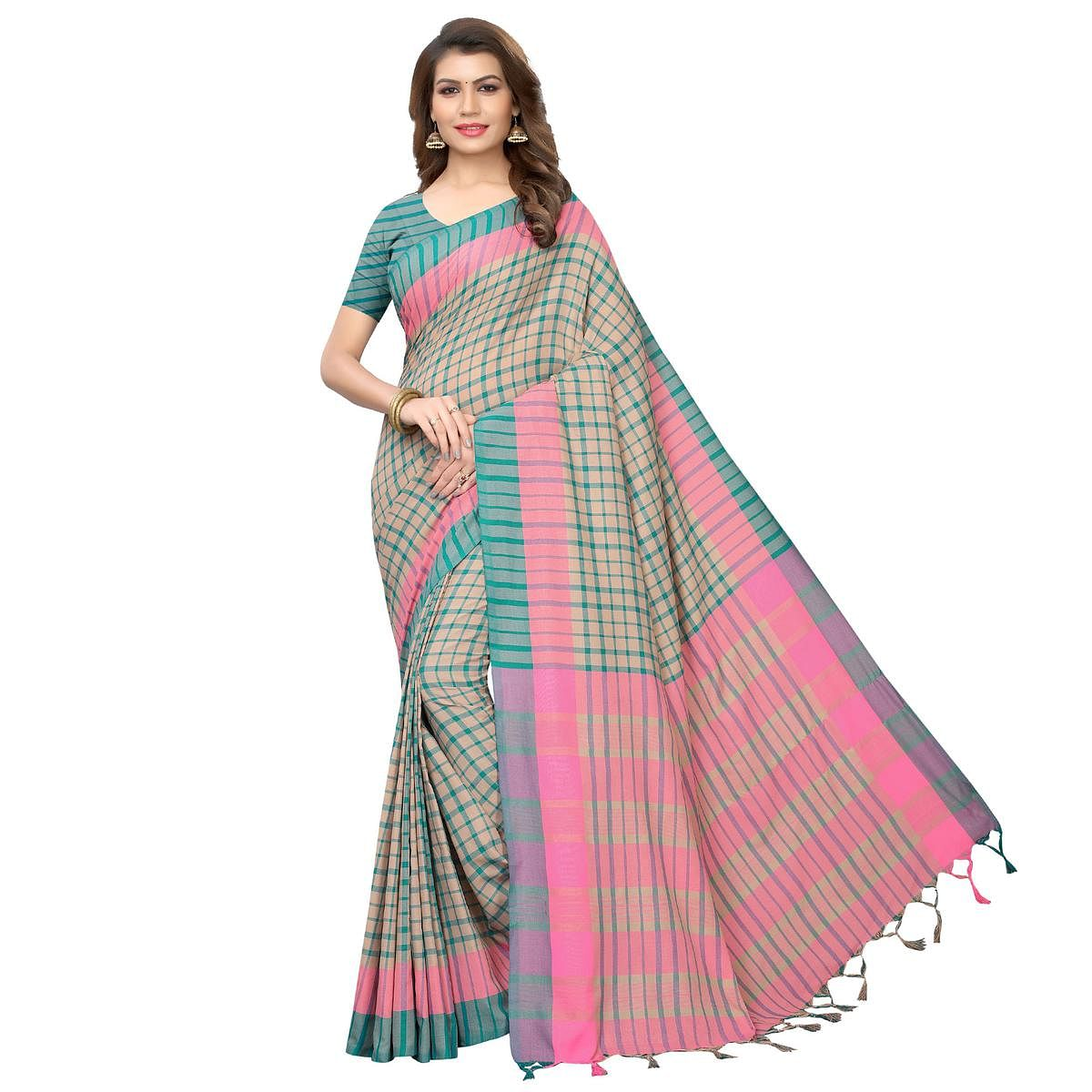Fantastic Beige-Rama Green Festive Wear Woven Art Silk Saree