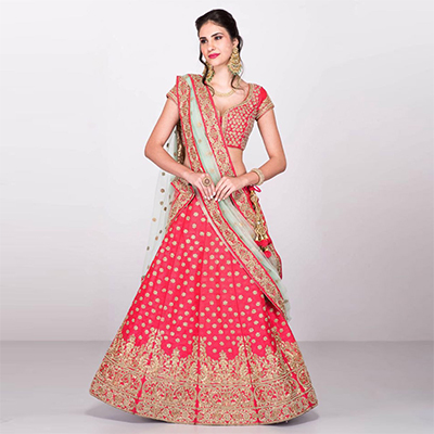 Lovely Pink Designer Embroidered Banarasi Silk Lehenga Choli