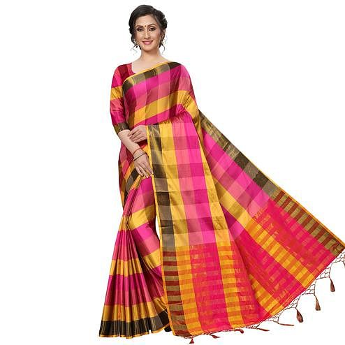 Majesty Pink-Multi Festive Wear Woven Art Silk Saree