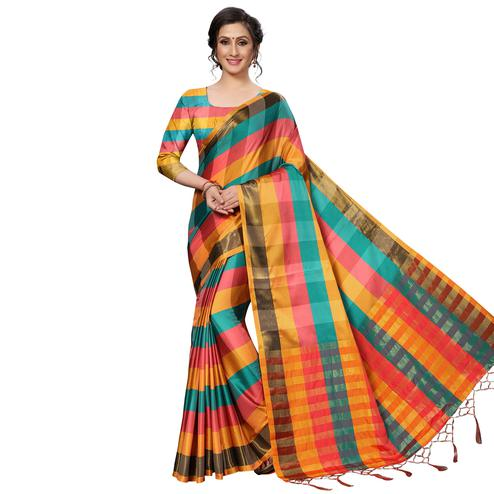 Mesmerising Sky Blue-Multi Festive Wear Woven Art Silk Saree