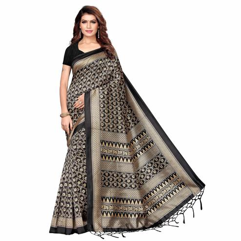 Exotic Black Colored Festive Wear Printed Khadi Silk Saree