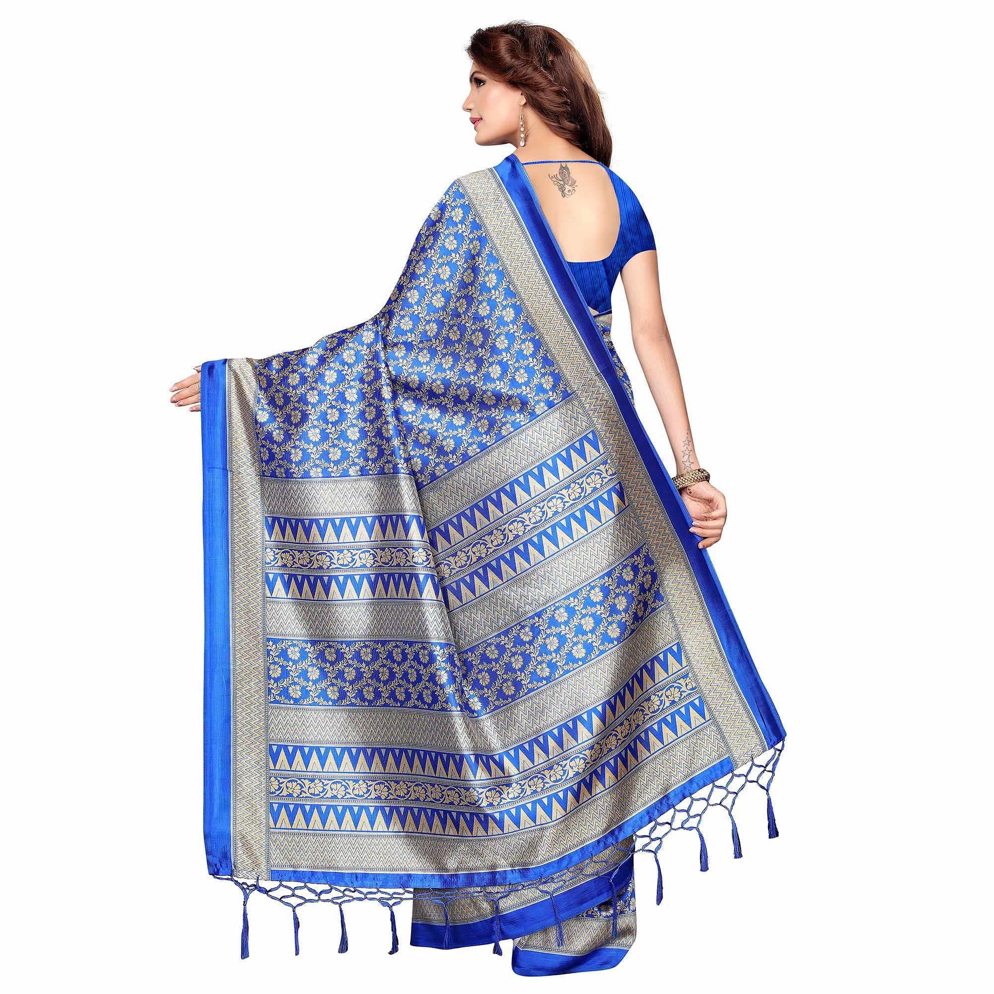 Sophisticated Blue Colored Festive Wear Printed Khadi Silk Saree