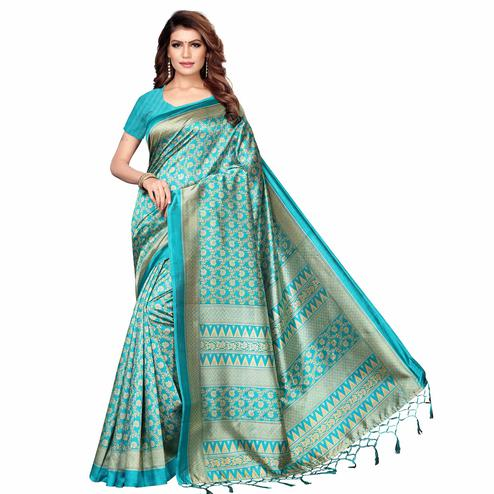 Trendy Aqua Blue Colored Festive Wear Printed Khadi Silk Saree