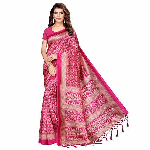 Elegant Pink Colored Festive Wear Printed Khadi Silk Saree