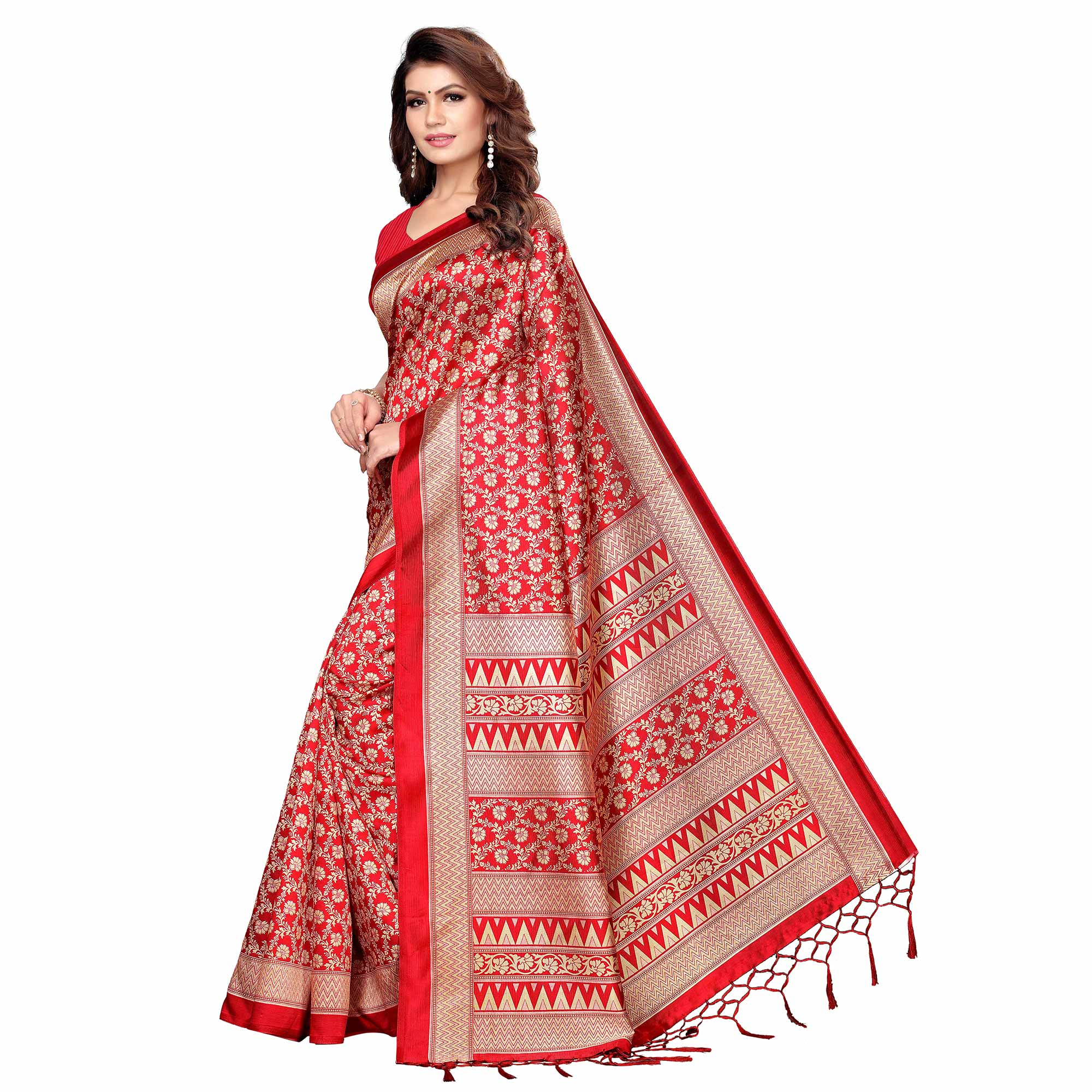 Radiant Red Colored Festive Wear Printed Khadi Silk Saree