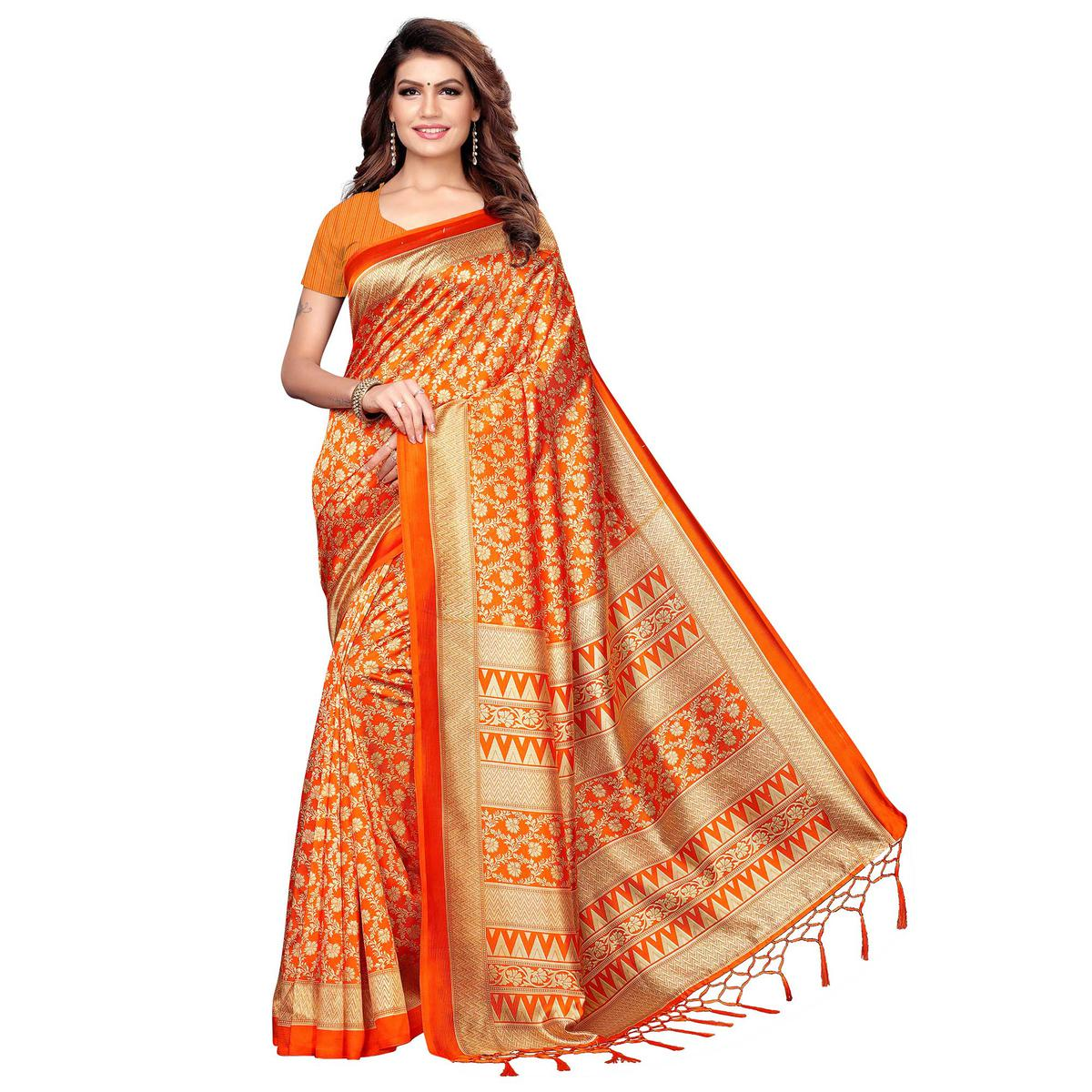 Pleasant Orange Colored Festive Wear Printed Khadi Silk Saree