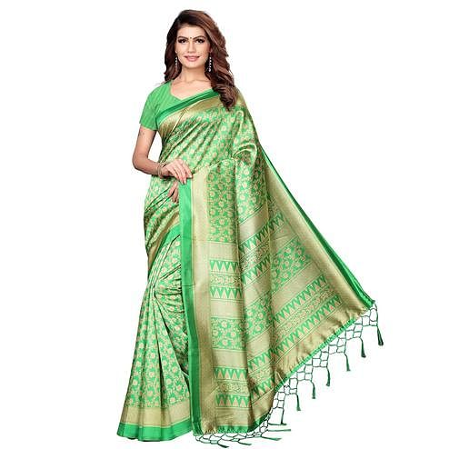 Opulent Green Colored Festive Wear Printed Khadi Silk Saree