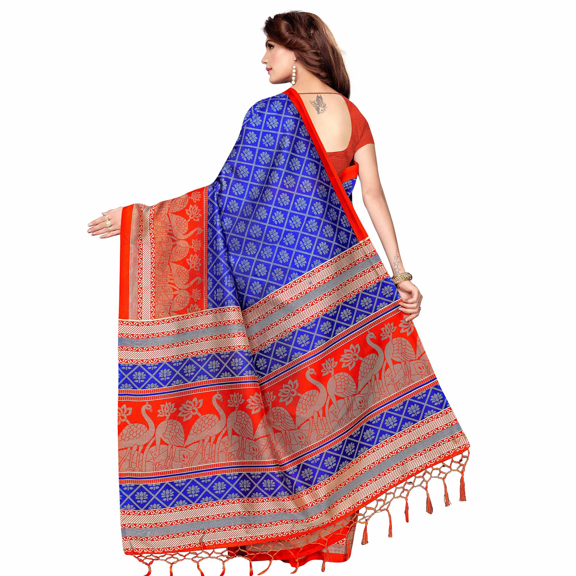 Energetic Blue Colored Festive Wear Printed Khadi Silk Saree